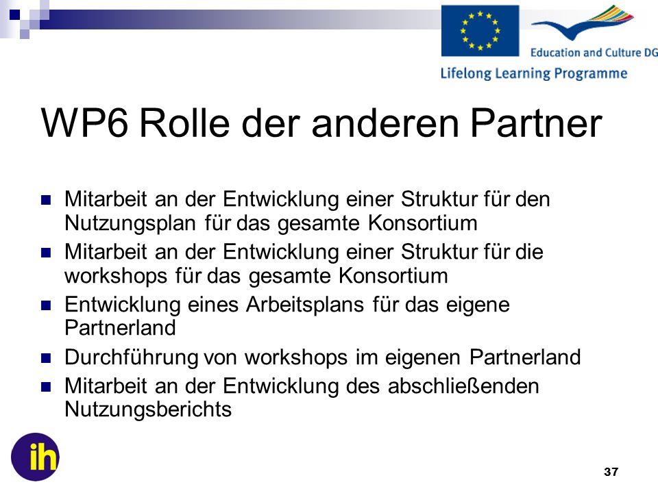 WP6 Rolle der anderen Partner