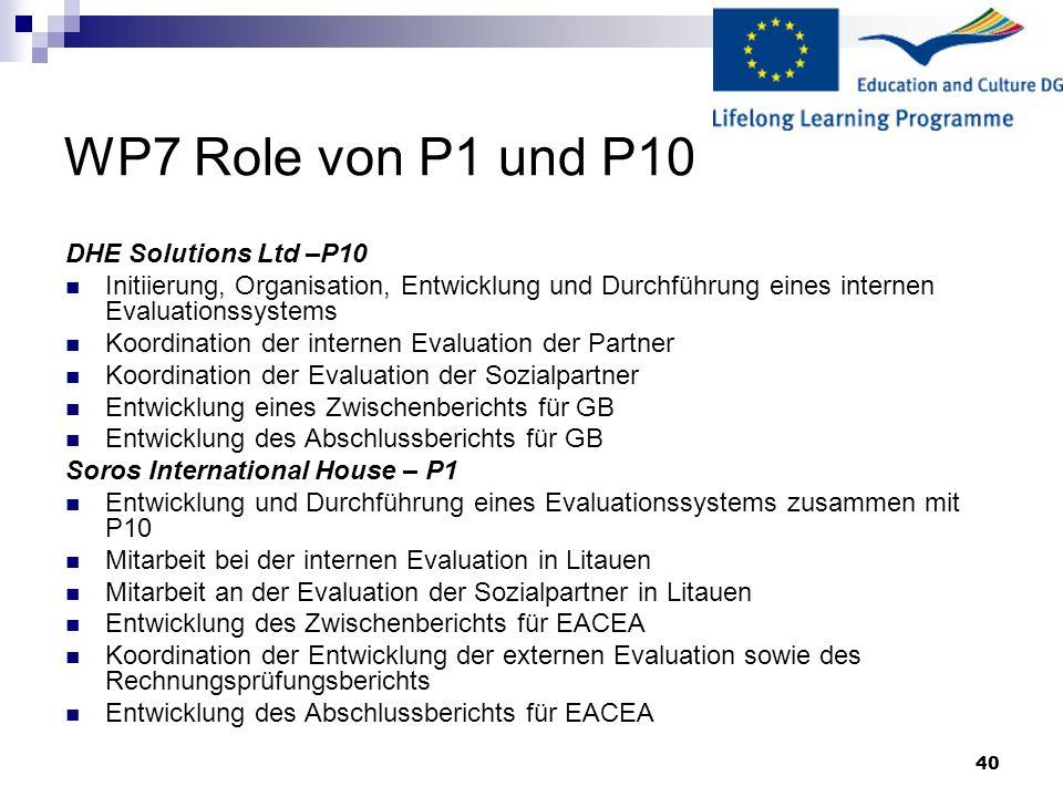 WP7 Role von P1 und P10 DHE Solutions Ltd –P10