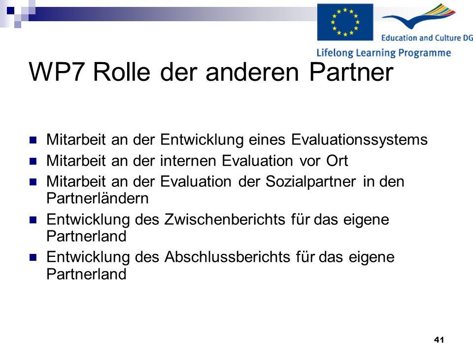 WP7 Rolle der anderen Partner