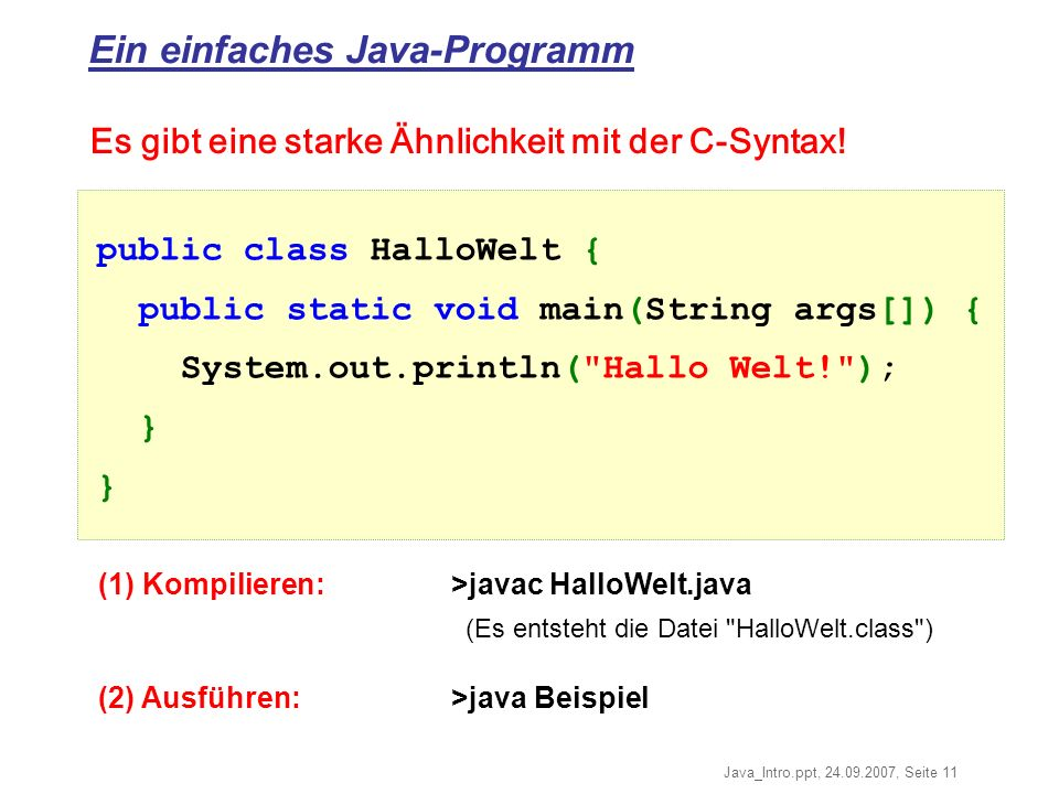Ein einfaches Java-Programm