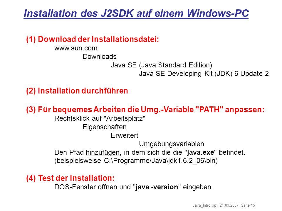 Installation des J2SDK auf einem Windows-PC