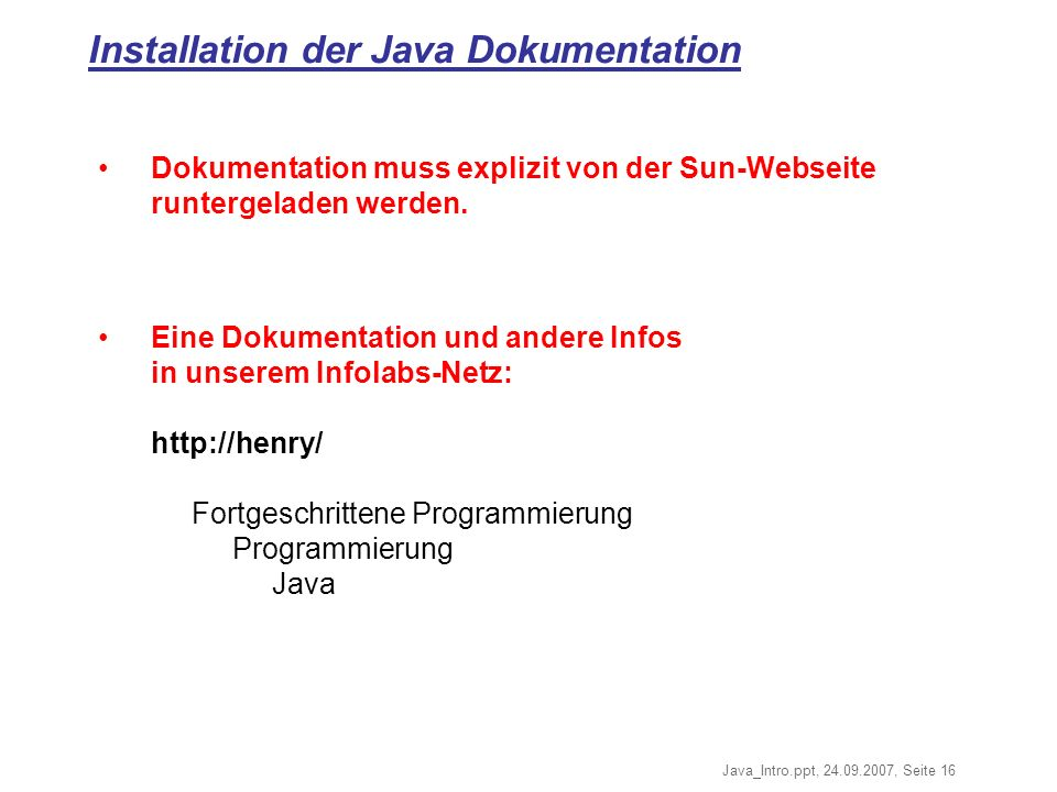 Installation der Java Dokumentation