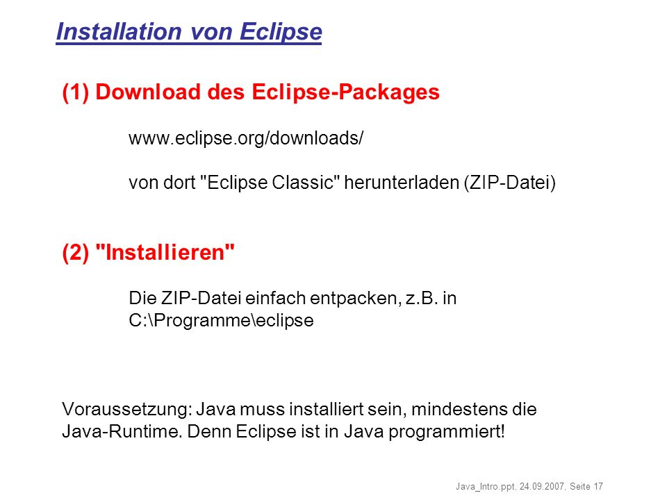Installation von Eclipse