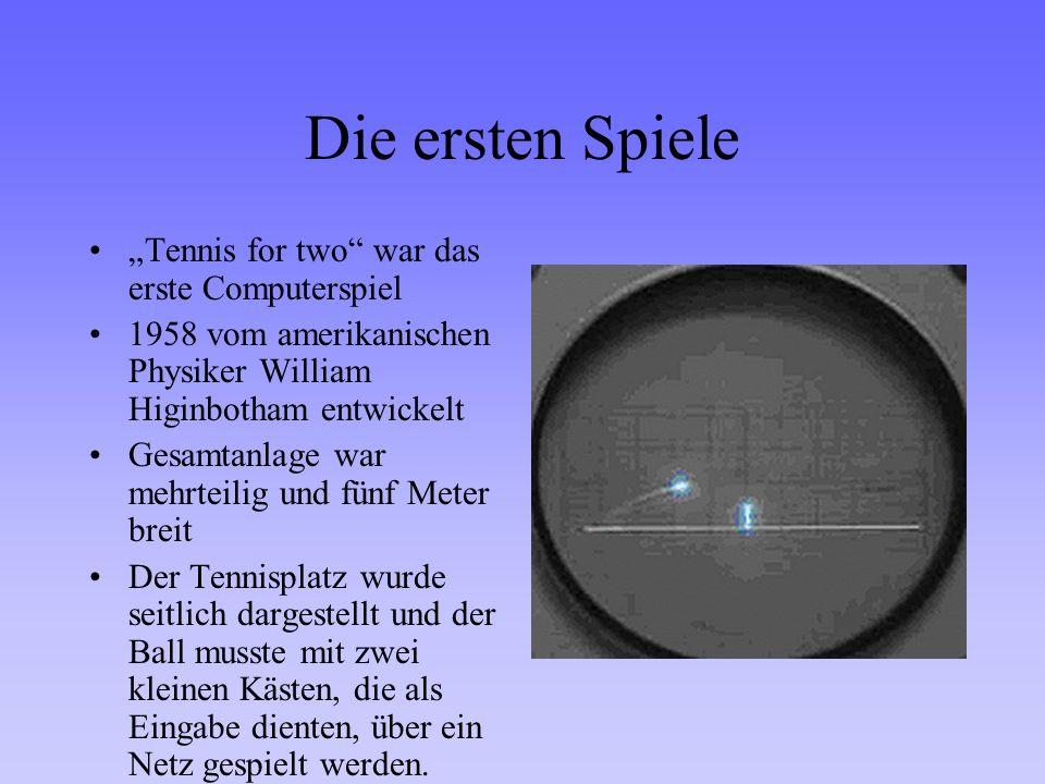 """Die ersten Spiele """"Tennis for two war das erste Computerspiel"""