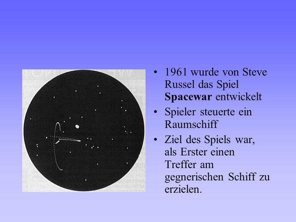 1961 wurde von Steve Russel das Spiel Spacewar entwickelt
