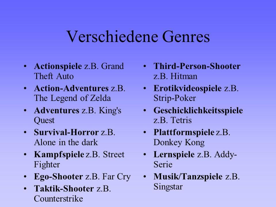 Verschiedene Genres Actionspiele z.B. Grand Theft Auto