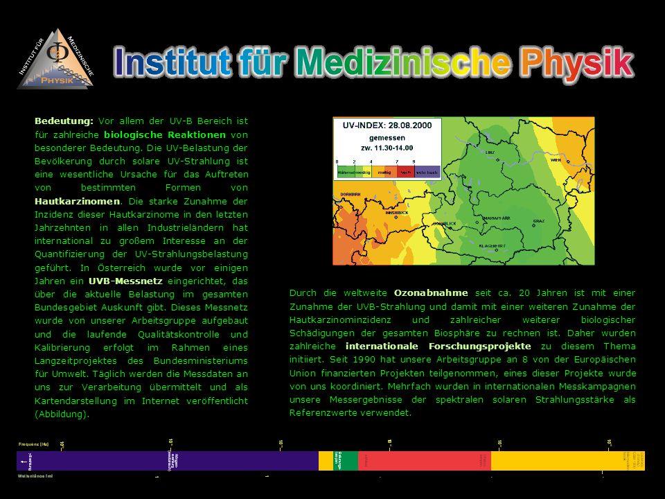 Bedeutung: Vor allem der UV-B Bereich ist für zahlreiche biologische Reaktionen von besonderer Bedeutung. Die UV-Belastung der Bevölkerung durch solare UV-Strahlung ist eine wesentliche Ursache für das Auftreten von bestimmten Formen von Hautkarzinomen. Die starke Zunahme der Inzidenz dieser Hautkarzinome in den letzten Jahrzehnten in allen Industrieländern hat international zu großem Interesse an der Quantifizierung der UV-Strahlungsbelastung geführt. In Österreich wurde vor einigen Jahren ein UVB-Messnetz eingerichtet, das über die aktuelle Belastung im gesamten Bundesgebiet Auskunft gibt. Dieses Messnetz wurde von unserer Arbeitsgruppe aufgebaut und die laufende Qualitätskontrolle und Kalibrierung erfolgt im Rahmen eines Langzeitprojektes des Bundesministeriums für Umwelt. Täglich werden die Messdaten an uns zur Verarbeitung übermittelt und als Kartendarstellung im Internet veröffentlicht (Abbildung).