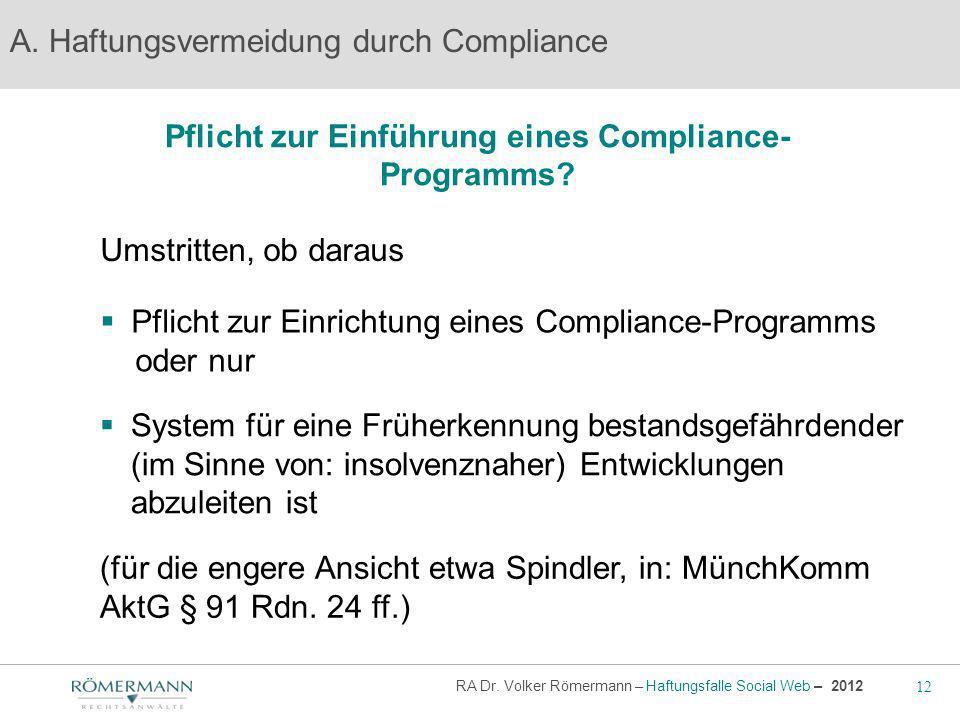 Pflicht zur Einführung eines Compliance-Programms