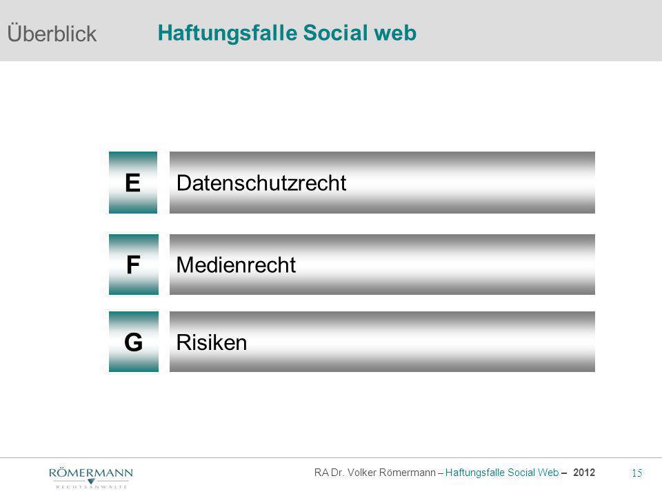E F G Überblick Haftungsfalle Social web Datenschutzrecht Medienrecht