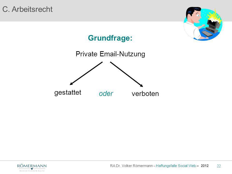 C. Arbeitsrecht Grundfrage: Private Email-Nutzung gestattet oder