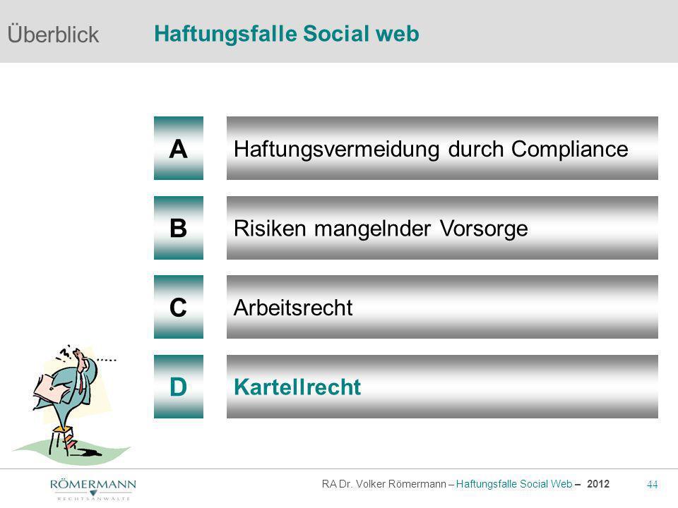 A B C D Überblick Haftungsfalle Social web