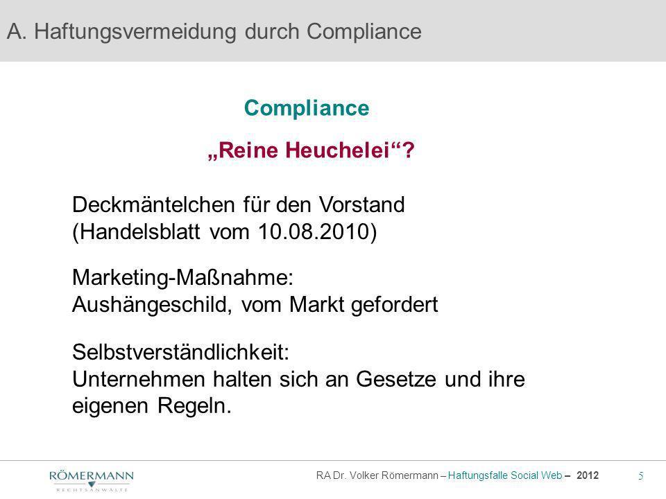 """Compliance """"Reine Heuchelei"""