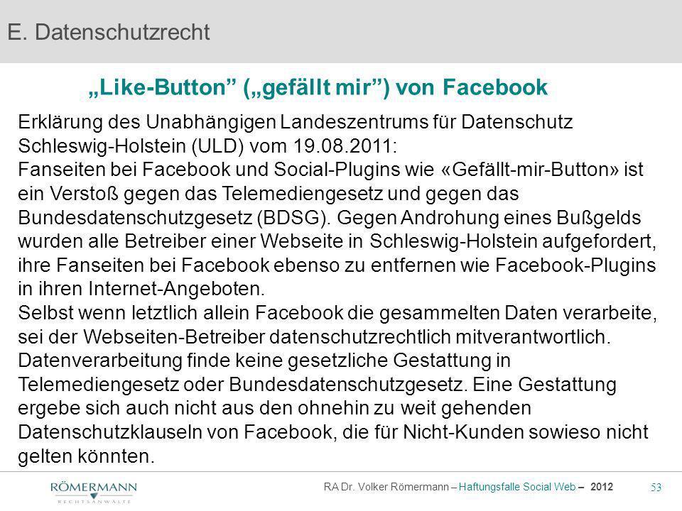 """""""Like-Button (""""gefällt mir ) von Facebook"""