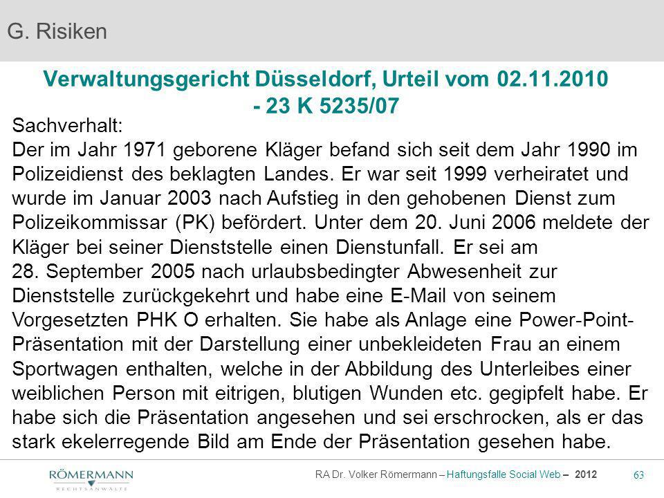 Verwaltungsgericht Düsseldorf, Urteil vom 02.11.2010 - 23 K 5235/07