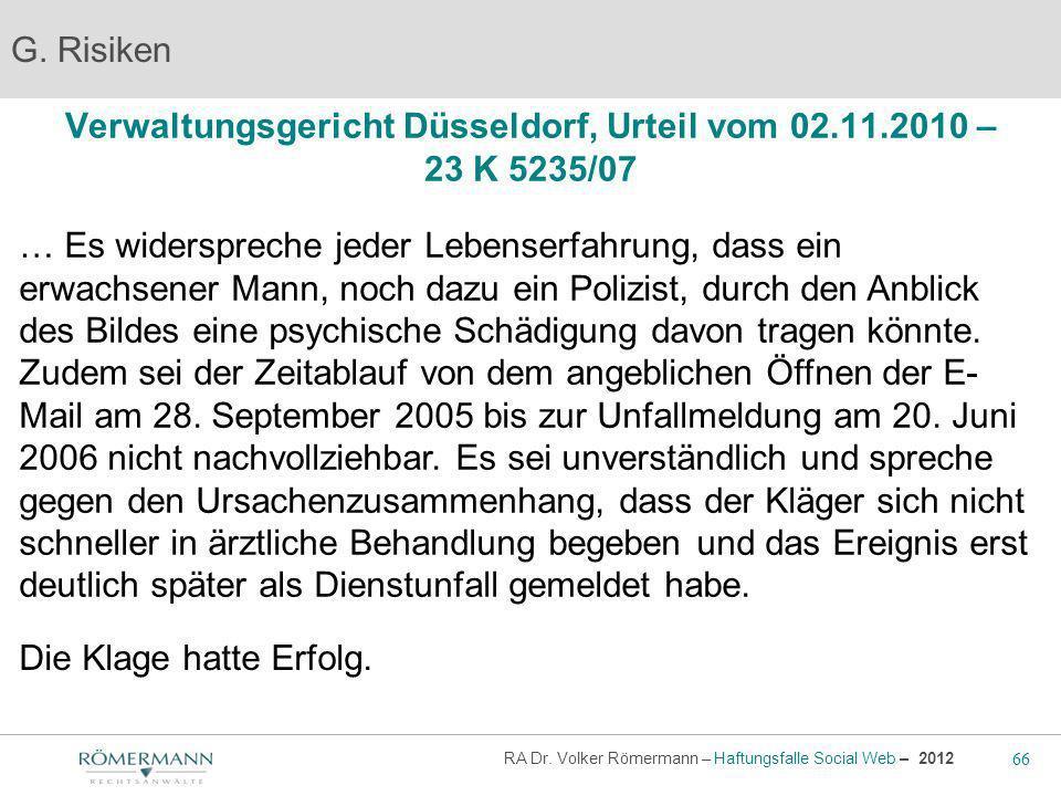 Verwaltungsgericht Düsseldorf, Urteil vom 02.11.2010 – 23 K 5235/07