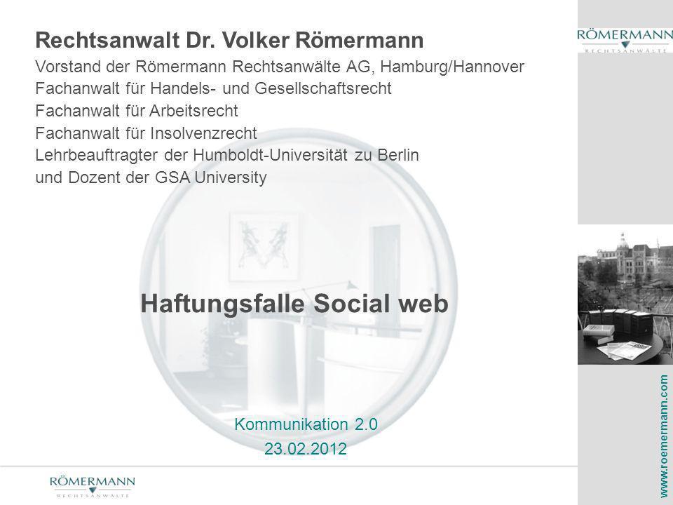 Haftungsfalle Social web
