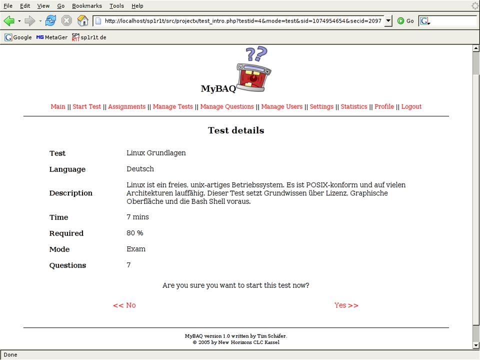 MyBAQ - Webbasierte Prüfungssoftware
