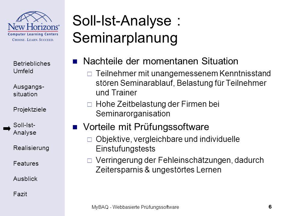 Soll-Ist-Analyse : Seminarplanung