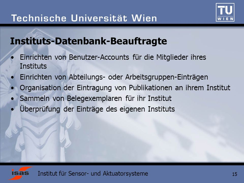 Instituts-Datenbank-Beauftragte