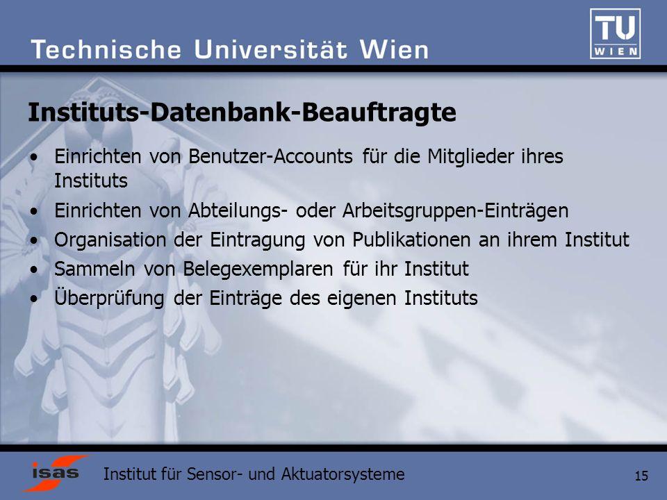 Instituts-Datenbank-Beauftragte