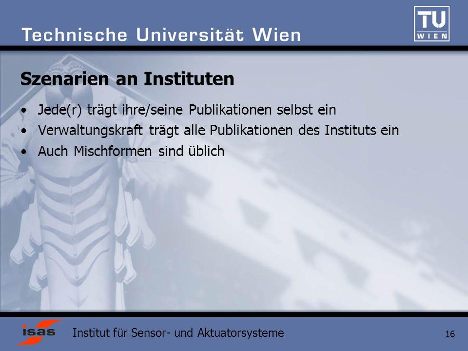 Szenarien an Instituten