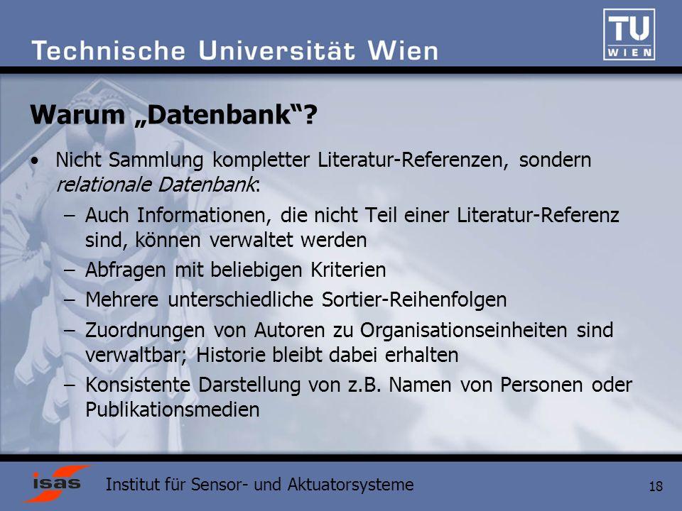 """Warum """"Datenbank Nicht Sammlung kompletter Literatur-Referenzen, sondern relationale Datenbank:"""