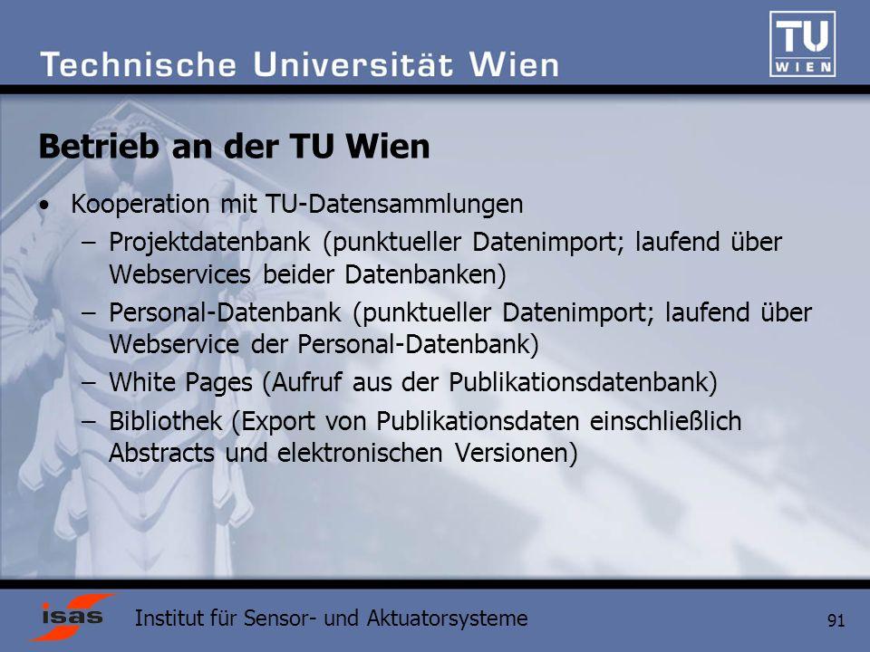 Betrieb an der TU Wien Kooperation mit TU-Datensammlungen