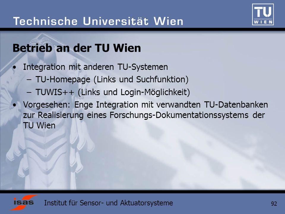Betrieb an der TU Wien Integration mit anderen TU-Systemen