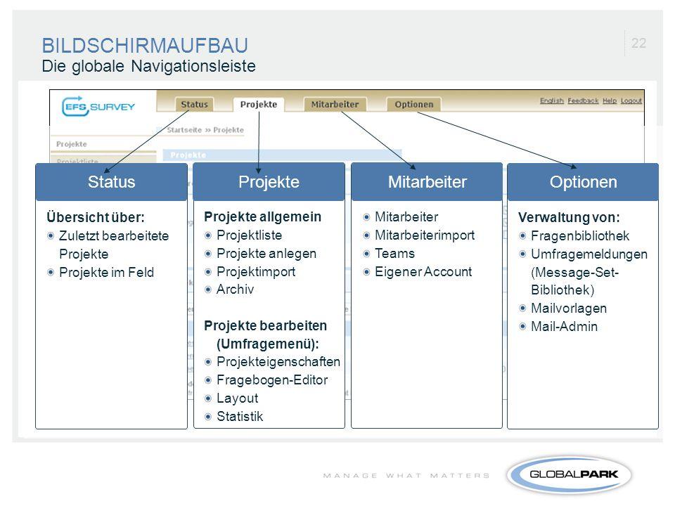 BILDSCHIRMAUFBAU Die globale Navigationsleiste Status Projekte