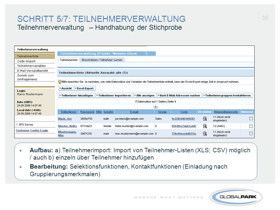 SCHRITT 5/7: TEILNEHMERVERWALTUNG