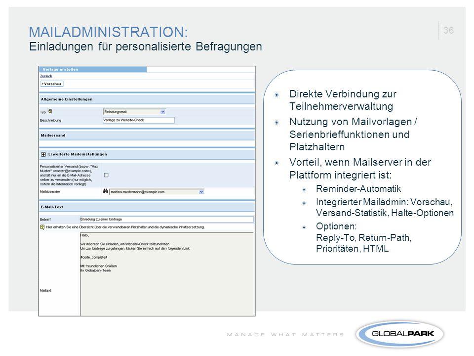 MAILADMINISTRATION: Einladungen für personalisierte Befragungen