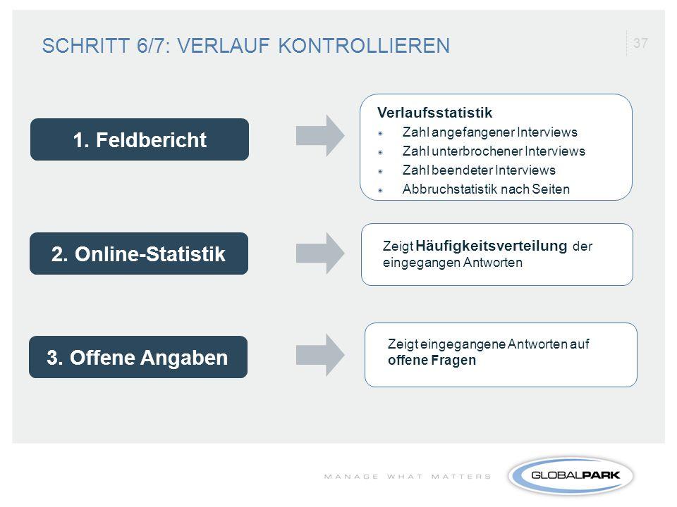 1. Feldbericht 2. Online-Statistik 3. Offene Angaben