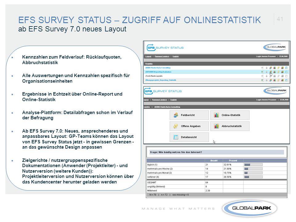 EFS SURVEY STATUS – ZUGRIFF AUF ONLINESTATISTIK