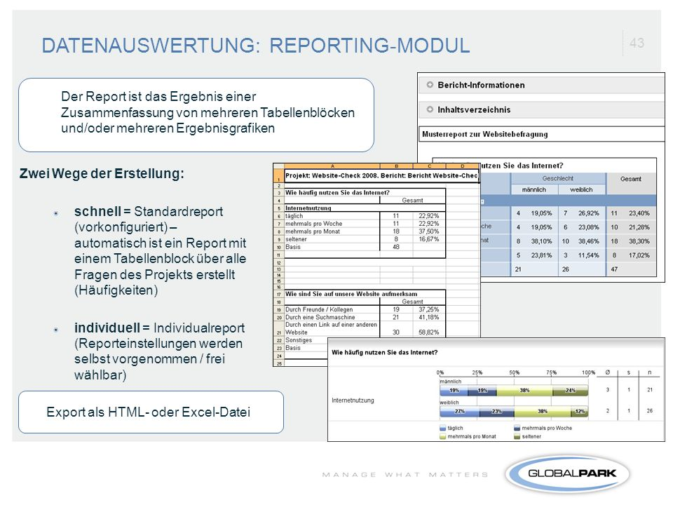 DATENAUSWERTUNG: REPORTING-MODUL