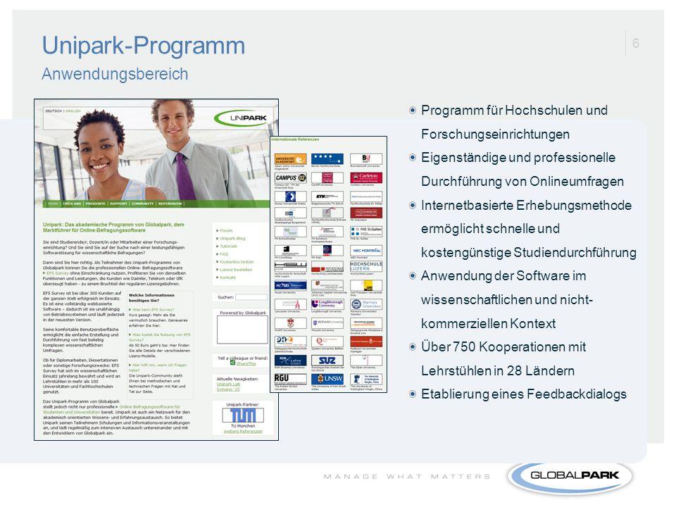 Unipark-Programm Anwendungsbereich
