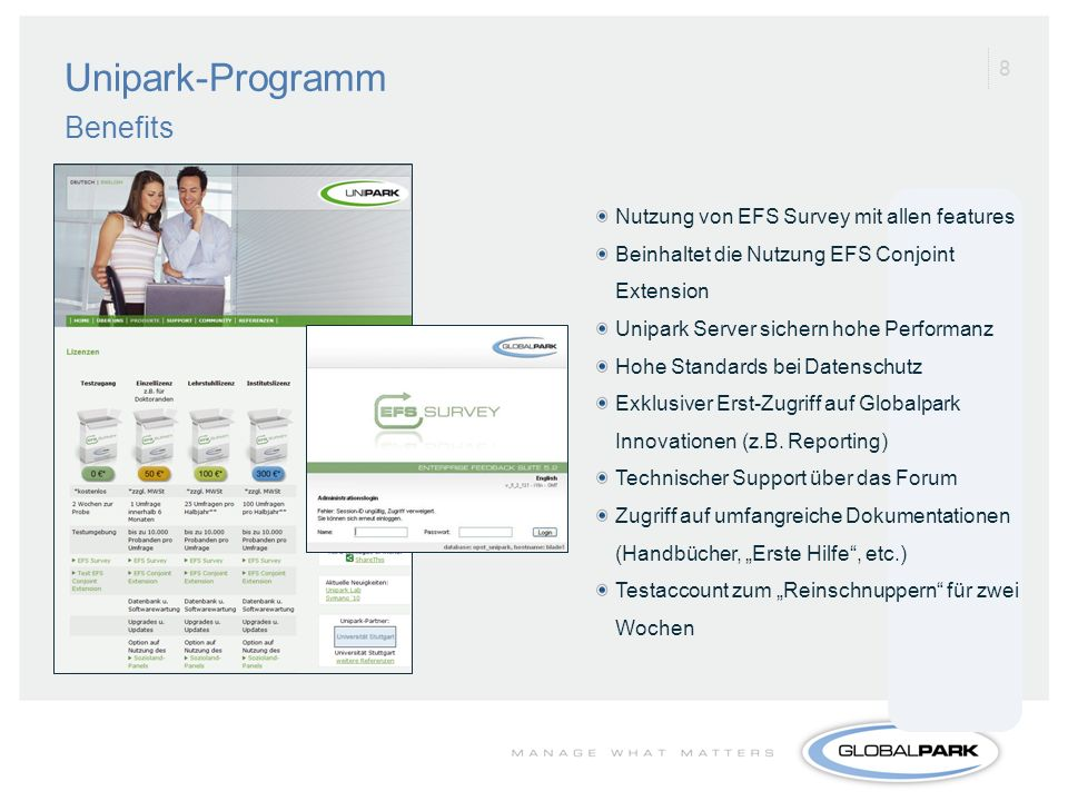 Unipark-Programm Benefits