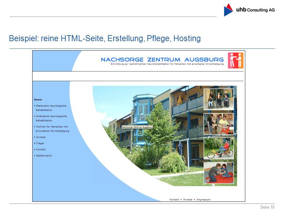 Beispiel: reine HTML-Seite, Erstellung, Pflege, Hosting