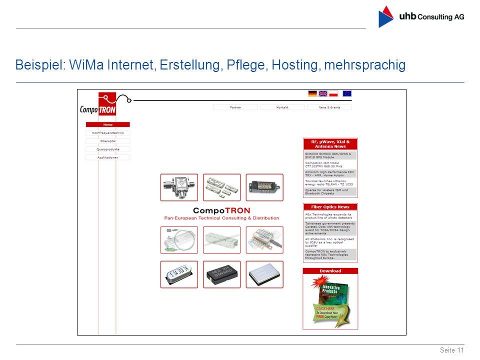 Beispiel: WiMa Internet, Erstellung, Pflege, Hosting, mehrsprachig