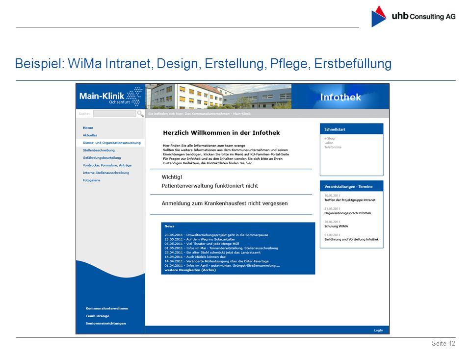 Beispiel: WiMa Intranet, Design, Erstellung, Pflege, Erstbefüllung