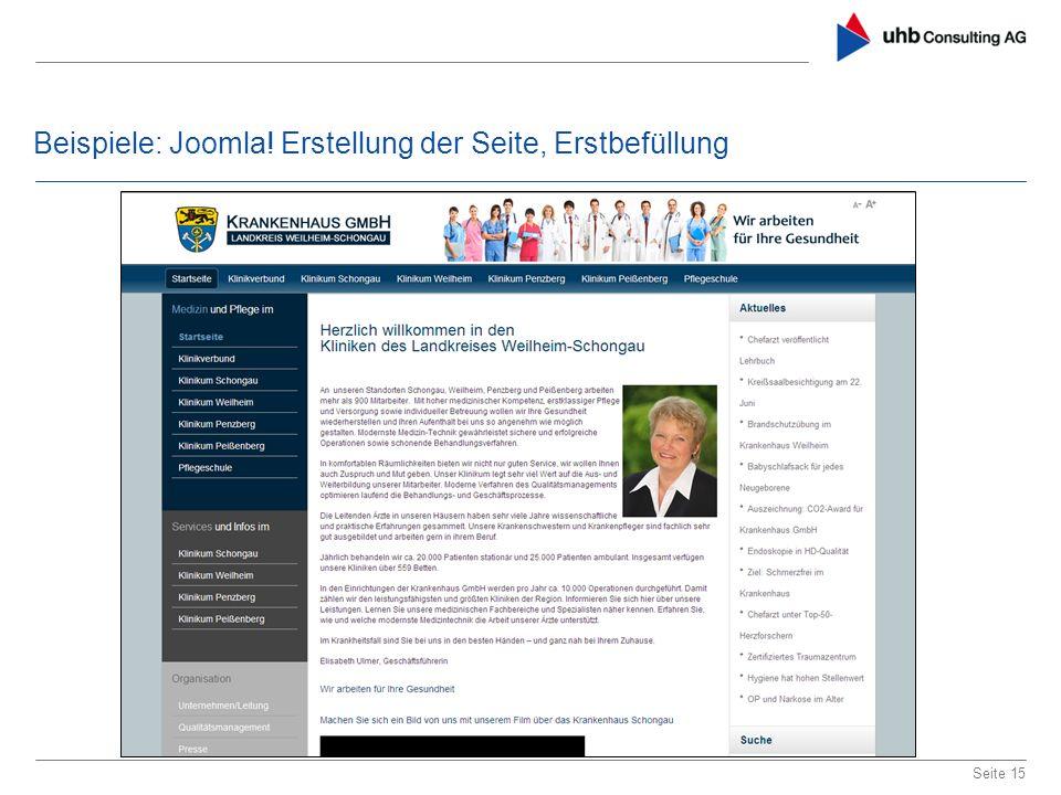 Beispiele: Joomla! Erstellung der Seite, Erstbefüllung