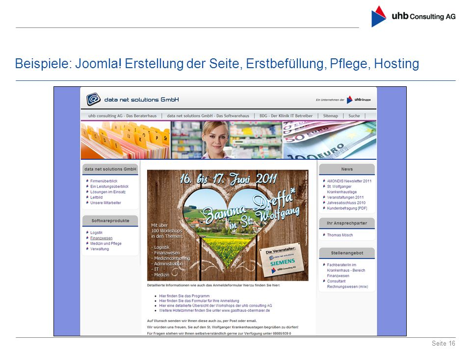 Beispiele: Joomla! Erstellung der Seite, Erstbefüllung, Pflege, Hosting