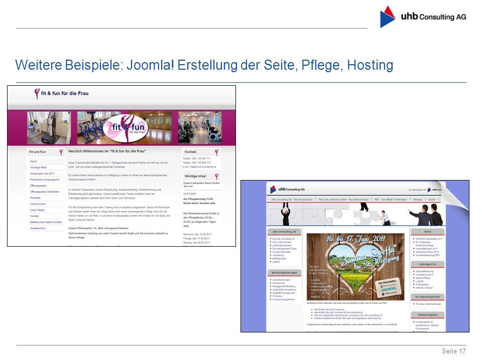 Weitere Beispiele: Joomla! Erstellung der Seite, Pflege, Hosting