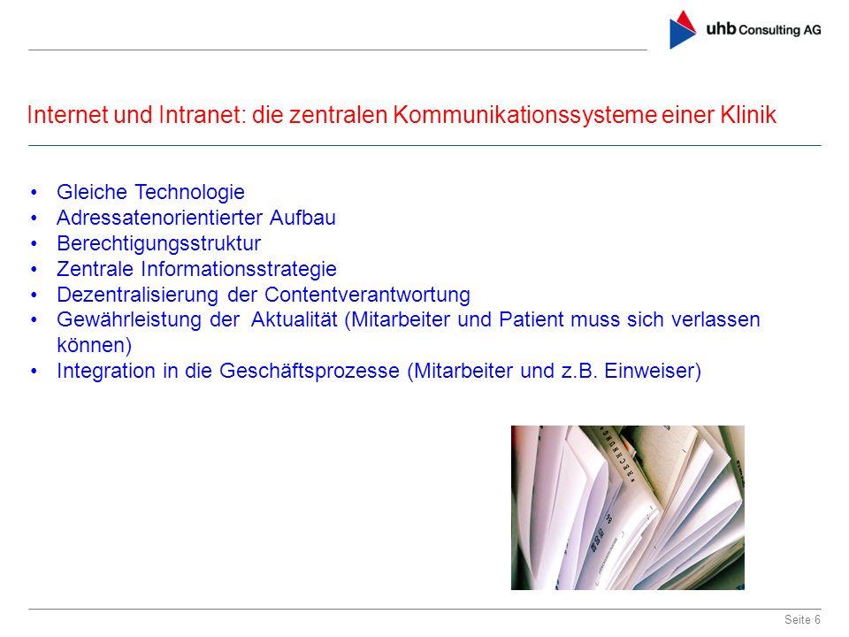 Internet und Intranet: die zentralen Kommunikationssysteme einer Klinik