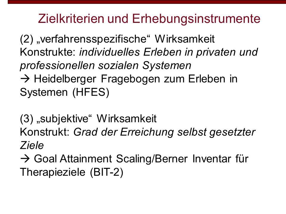 Zielkriterien und Erhebungsinstrumente