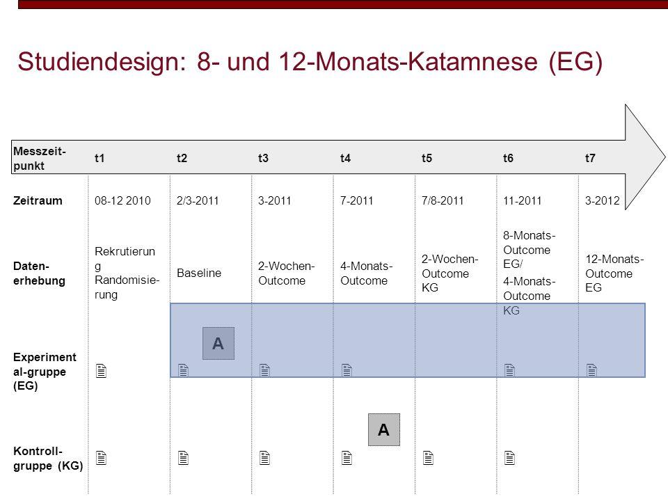 Studiendesign: 8- und 12-Monats-Katamnese (EG)