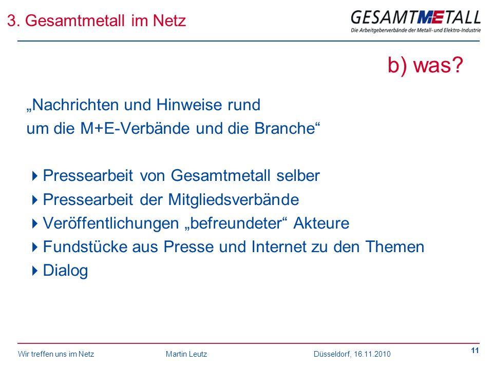 """b) was 3. Gesamtmetall im Netz """"Nachrichten und Hinweise rund"""