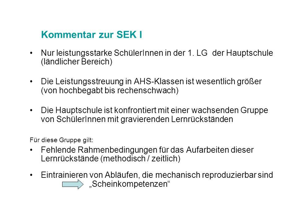 Kommentar zur SEK I Nur leistungsstarke SchülerInnen in der 1. LG der Hauptschule (ländlicher Bereich)