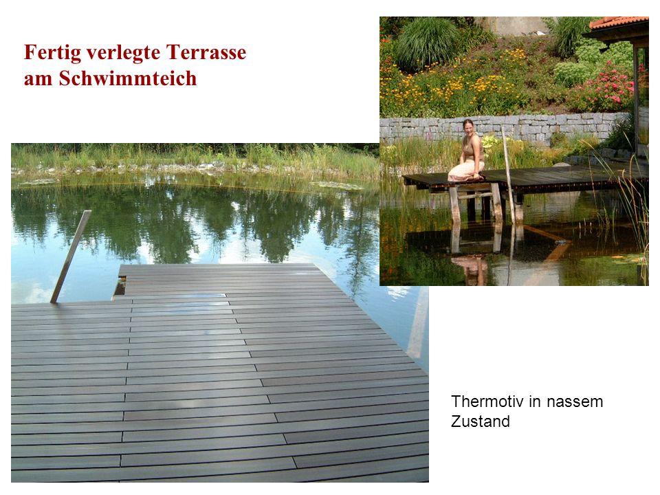 Fertig verlegte Terrasse am Schwimmteich