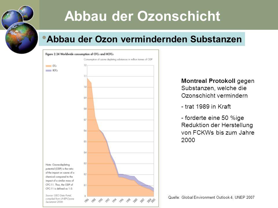 Abbau der Ozon vermindernden Substanzen