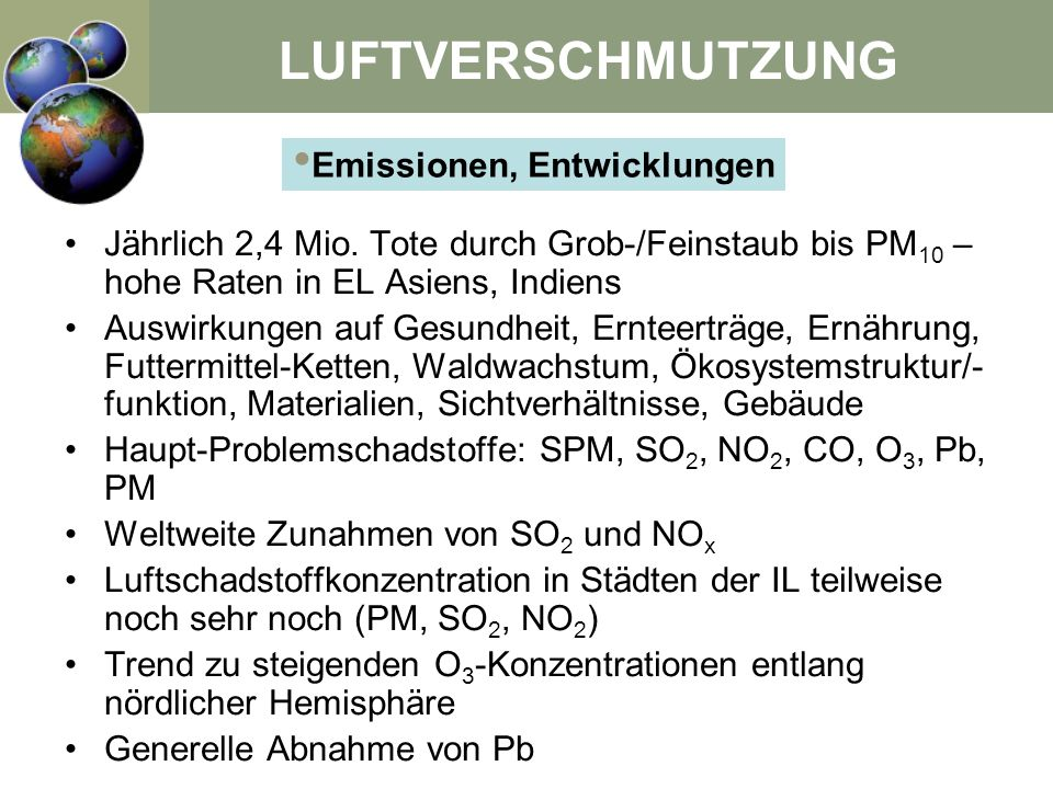 Emissionen, Entwicklungen